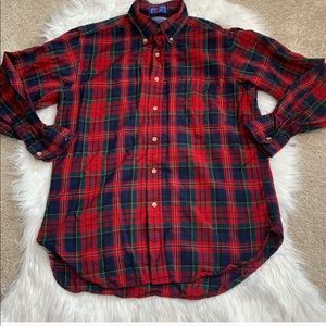 Pendleton Men's Wool Red Tartan Plaid Button Up